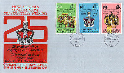 New Hebrides English 1977 Silver Jubilee Official First Day Cover Fdi Cancel