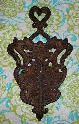Antique/Vintage Cast Iron TRIVET - Heart, Star, Flower - Good Condition - 9 Inch