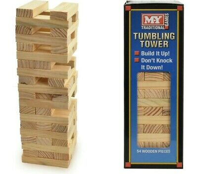 M.Y 54 Pcs Wooden Tumbling Tower Traditional Stack Kids Family XMAS Party Game