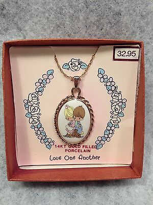 "Precious moments 14Kt gold filled Porcelain ""Love One Another"" 1991 necklace"