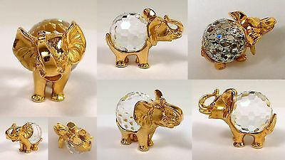 Vtg Signed R Faceted Crystal Belly Elephant Gold Tone Metal Miniature Figurine