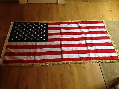 3x6 FT USA 2 PLY Embroidered American Flag with Gold Fringe US Banner