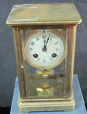 French Vintage Crystal Regulator, Brass, Early