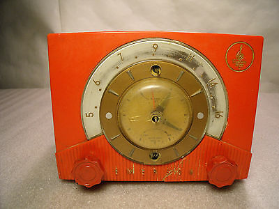 Vintage Emerson Tube Clock / Radio Bright RED Bakelite