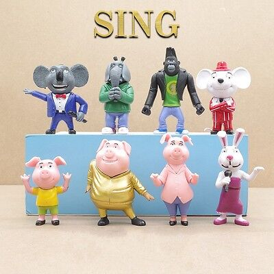 8pcs Movie Sing Cartoon Buster Moon Johnny Action Figures Doll Kids Boy Girl Toy