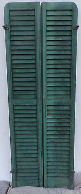 Antique Pair Rounded Arched Wood Louvered Shutter Shabby Vtg Chic 02-17P