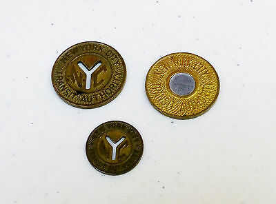 Lot of Three 3 Different New York City NYC Subway Tokens
