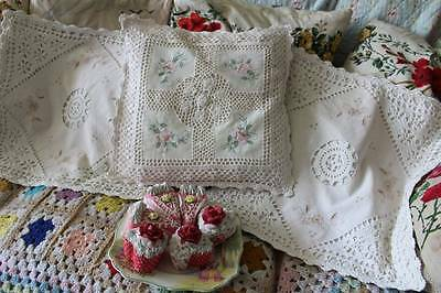 3 Pretty Crochet & Embroidered Cushion Covers Shabby Chic