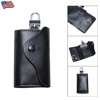 Mens Womens PU Leather Keychain Ring Pouch Bag Wallet Car Key Case Holder Black