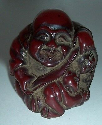 Antique Amber Buddha Netsuke Signed