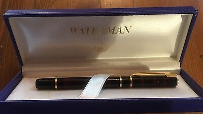 Waterman Laureat Fuellfederhalter / Fountain Pen  Dunkelrot (M) im altere Etui