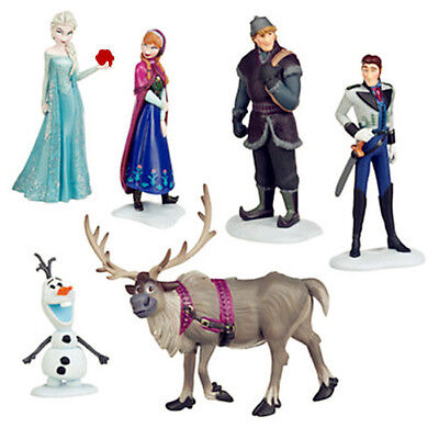 6pcs Movie Frozen Princess Cake Toppers Action Figure Doll Set Kids Boy Girl Toy