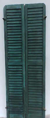 Antique Pair Rounded Arched Wood Louvered Shutter Shabby Vtg Chic 07-17P