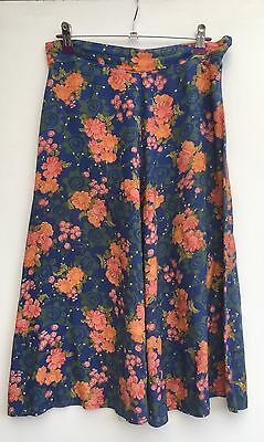 Vintage 70s Floral Print Blue Viscose Midi A Line Flared Cotton Skirt 8 Small