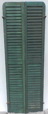 Antique Pair Rounded Arched Wood Louvered Shutter Shabby Vtg Chic 10-17P