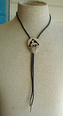 Vintage Western Wear Bolo Tie German Silver with Oynx End of the Trail