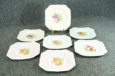 "Johnson Brothers Old English Square-Shaped Plates 7 3/4"" Floral Motif x 7"