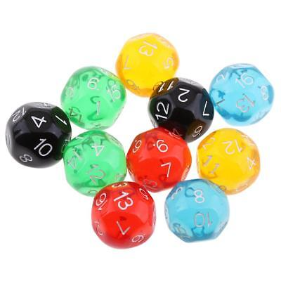 10X D16 Polyhedral Dice Translucent Dice for Dungeons and Dragons Board Dice