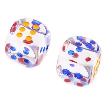 2 pieces Translucent Dice D6 6 Sided Dice 34MM for Board Games Table Games