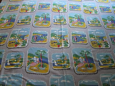 Vintage 50s 60s fabric homemade tablecloth good conditionn