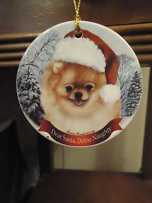 Pomeranian Dog in Hat Winter Scene Porcelain Ornament Dear Santa Define Naughty