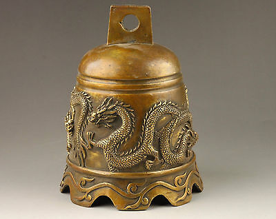 Chinese Handmade Exquisite Anaglyph Dragon Brass Bell
