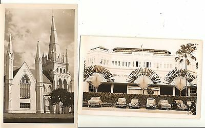 2 postcards of Singapore 1955-57 unmailed National Service effects