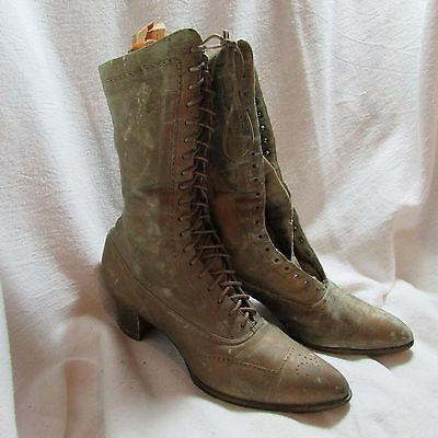 Original Antique Victorian Women's Lace Up Heeled Boots, Shoes, Leather, Bronze