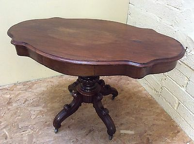 Victorian Mahogany Pedestal Occasional Side Table With 2 Drawers