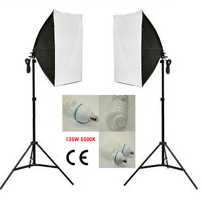 Photography Continuous Lighting Kit Softbox Photo Studio Soft Box Light Stand UK