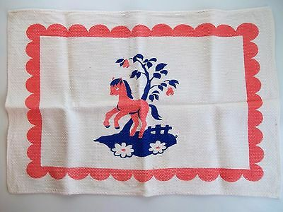 Vintage 1 Child's White Broad Cloth Place Mat Pink & Blue Pony ~ Just Adorable