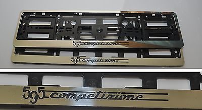 New 2 x Fiat 500 Abarth 595 Competizione Stainless Steeel Number Plate Surrounds