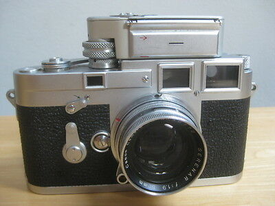 Leica M3 Double Stroke Camera Rangefinder Film W/ Canon Serenar 50Mm Lens Meter