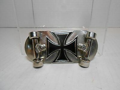 Vintage SKATEBOARD Belt Buckle SILVER STAR OC Black Cross c.2004