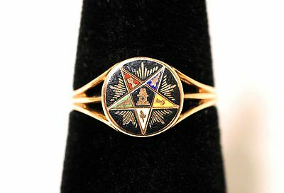 Masonic 10k Yellow Gold Eastern Star Vintage Woman's Ring Sz 5.5!