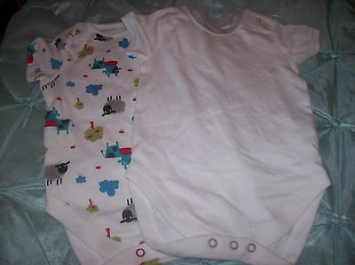 2 Baby Boy Bodysuits New Without Tags Ex Chainstore Aged 6 - 9 Months