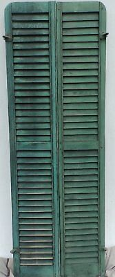 Antique Pair Rounded Arched Wood Louvered Shutter Shabby Vtg Chic 11-17P