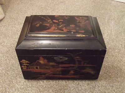 Vintage Original Lacquered  Tea Caddy  Good Quality All Lined    Estate Cleared
