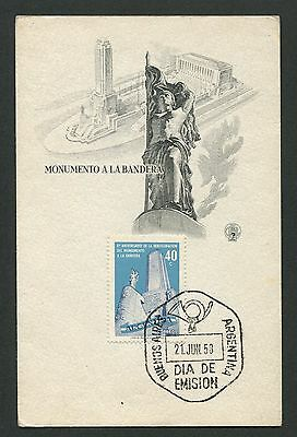 ARGENTINA MK 1958 MONUMENTO BANDERA MAXIMUMKARTE CARTE MAXIMUM CARD MC CM d2944