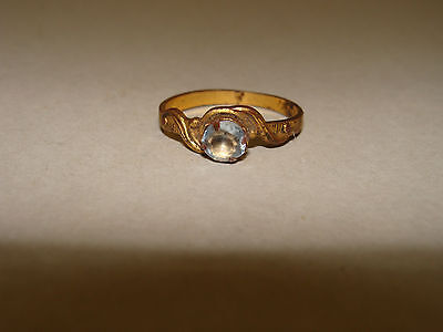 Medieval Ring Bronze.17-18. Gold plated. Stone.