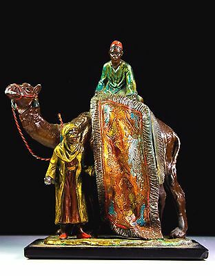 ANTIQUE AUSTRIAN COLD PAINTED SPELTER CAMEL AND GUIDES c.1890- C.1920