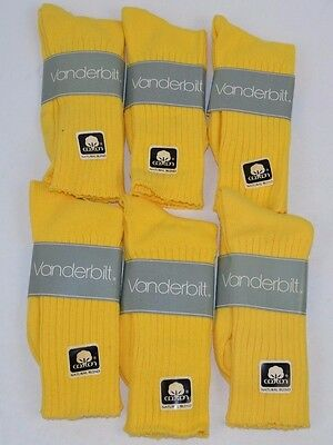 VINTAGE 1980's Lot of 6 Pairs Cotton Blend LEMON YELLOW Crew SOCKS - NOS