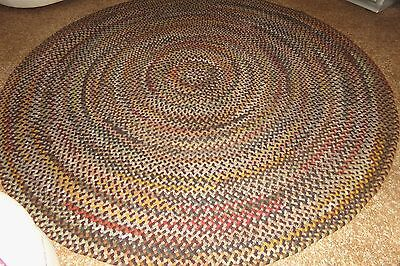 Vintage American Hand Braided Laced Wool Area Rug Room Size 8 Feet Round VNC