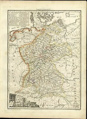Germany Confederacy Bohemia Prussia France beautiful c1810 old antique color map