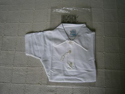 Vintage Sports Shirt - Age 5-6 - White Cotton Mesh - Collar & 3 Buttons - New