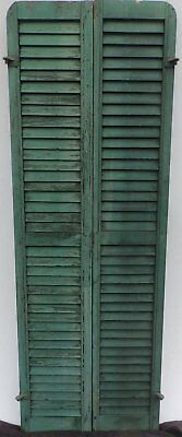 Antique Pair Rounded Arched Wood Louvered Shutter Shabby Vtg Chic 16-17P