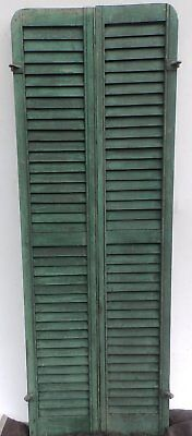 Antique Pair Rounded Arched Wood Louvered Shutter Shabby Vtg Chic 19-17P
