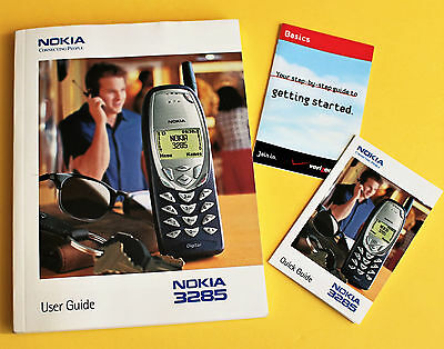 NOKIA 3285 Cell Phone USER GUIDE with (2) Quick Start Basics insert cards