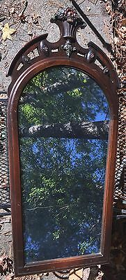 Knoxville Table Co Mirror Antique Solid Mahogany Carved Rose Design Unique Shape