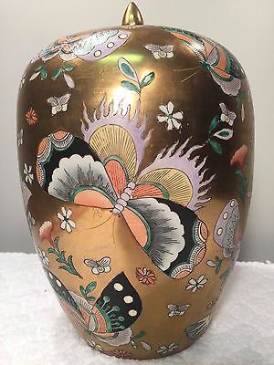 Gold Qianlong Chinese Porcelain Vase with Lid Butterfly Moth Painted Gilt Vessel